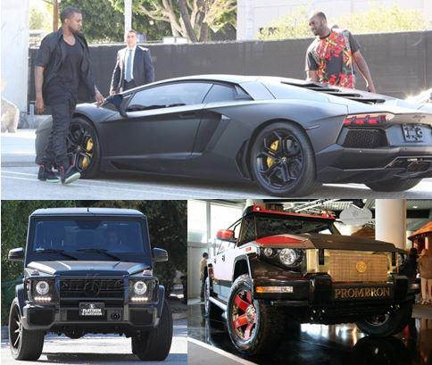 Kayne West Lamborghini Aventador, Red Diamond Prombron SUV, Kim Kardashian Mercedes G-Wagen