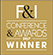 F&I 2017 award winner logo, black, white and gold