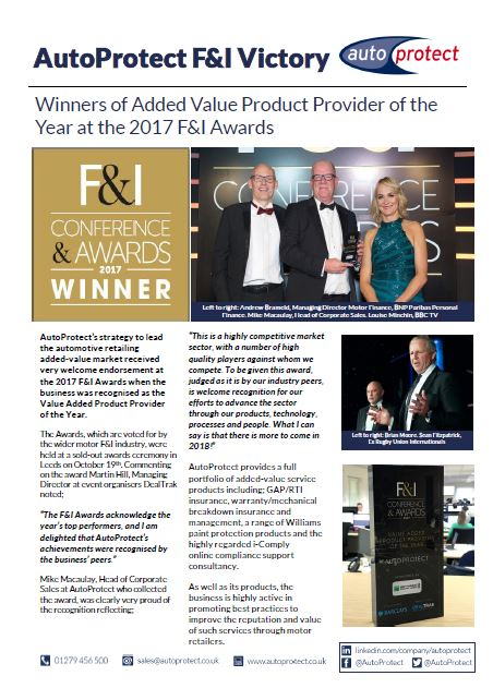 Single page article, AutoProtect wins added-value product provider of the year, 2017 F&I Awards