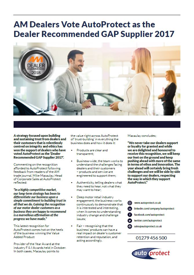 Single page article on AutoProtect voted as Dealer Recommended GAP Supplier 2017 by AM magazine readers