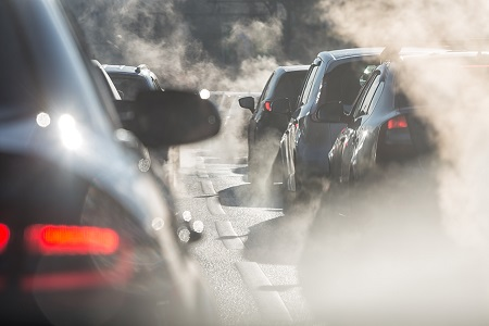 car exhausts in traffic