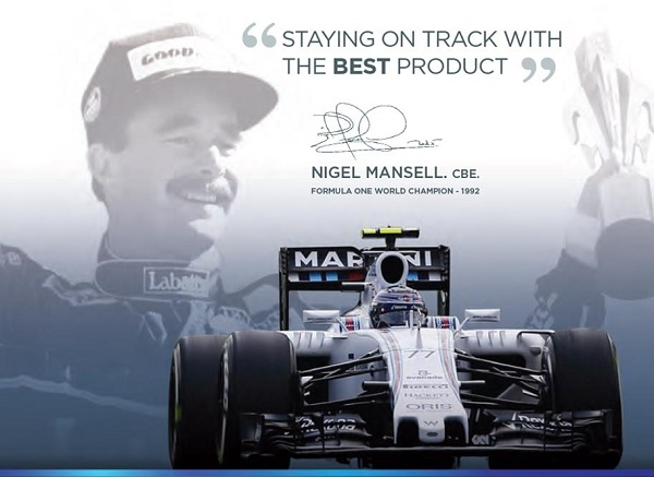 Nigel Mansell endorsement showing signature, Williams Martini car and photo