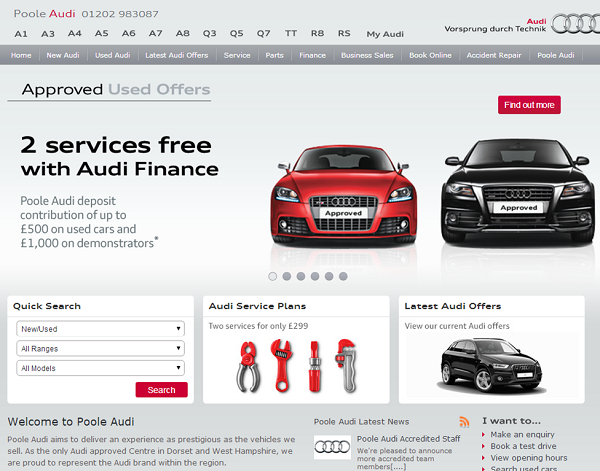 Screen grab from Poole Audi website showing navigation, Audi vehicles and service offer