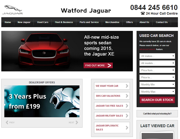Screen grab of Watford Jaguar website page showing vehicle images and navigation