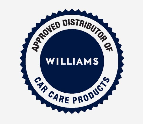 Approved distributor of Williams car care products round blue logo