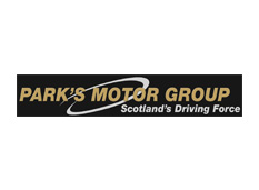 Parks Motor Group black white and gold rectangular logo