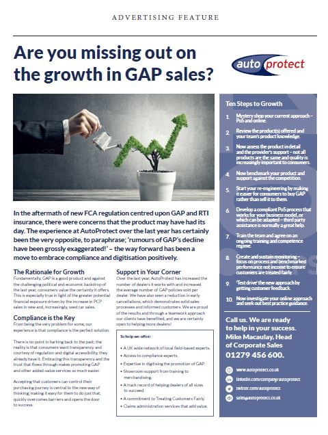 Single page advertorial about missing out on GAP sales