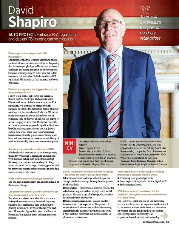 Car Dealer Magazine interview with David Shapiro, CEO, AutoProtect on FCA regulations